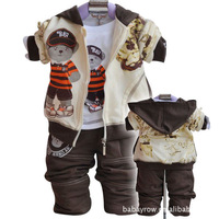 For baby 2014  children's Clothing set cotton   coat+T-shirt+pants baby boy kids three piece  sets  free shipping