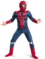 Free Shipping Hot Selling Halloween Spiderman Muscle Costumes for Kids Children boy Christmas super hero suits clothes clothing