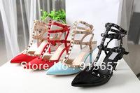 New Designer Rivet High-heeled Shoes Pointed Toe Sandals Fashion Buckle Rivet Studded Pumps Wholesale Size 35-41