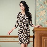 2014 Plus Size Fashion Famous Designer Europe Retro Leopard Women's Dresses Clothing S-3XL New