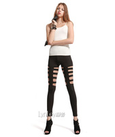 2014 New Arrive Women's Clothing Skinny Elastic Waist Lightweight Faux Leather Hollow Out Sexy Lady's Casual Capris VQ673