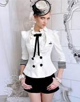 New Office lady Elegant Double breast Stripe fit White Jacket Coat