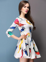 Latest European Spring Fashion Brand Sexy Bird Printed Dresses New 2014 Summer women clothing Slim Casual Mini sexy Dress