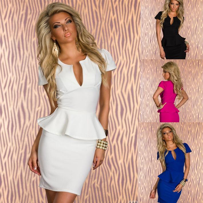 Hot Sale ML XL XXL Lotus leaf lace sexy V-neck waist dress clubwear dresses white black sexy nightclub dress # W058(China (Mainland))