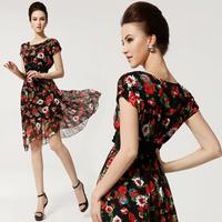 On Sale 2014 Spring Summer New Style fashion slim floral design party celebrity knee-length cute dresses for women + belt