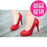 Hot-selling 2014 spring wedding shoes crystal red new arrival single shoes female high-heeled shoes crystal shoes round toe thin