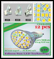 Free Shipping 12 pcs SMD 5050 24 LED 5W GU10 E27 E14 MR16 AC110-240V / AC&DC12V LED Spotlight Bulb LED light Downlight lamp