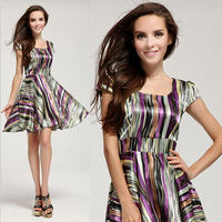Promotion Price 2014 spring summer new style colorful stripe mini cute celebrity dresses for women, casual party dress