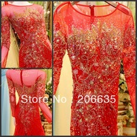 Glass Crystal Special Red Long Sleeve Luxury evening Dresses Rhinestones 25% off  NEWE-0532