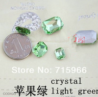 green  octagonal stone square glass crystal pointing behind stone 10 * 14MM, 6 * 8mm, 8 * 10mm, 13 * 18mm Free Shipping