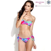 2014 New Abstract FoilPattern V Wire Bandeau Top Bikini Swimwear with Adjustable Bottom Brazilian bandage biquini