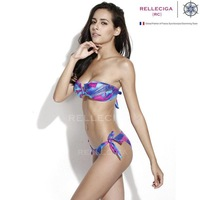 2014 New Scribble FoilPattern V Wire Bandeau Top Bikini Swimwear with Adjustable Bottom Brazilian bandage biquini