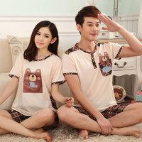Loss big sale summer pajama sets for women and men 2014 Amoi solid cotton tracksuit short sleeve cartoon bear sleepwear on sale