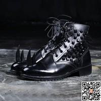 size37-46 2014 fashion men's cool Medium-leg tooling punk rivet personalized military ankel martin boots