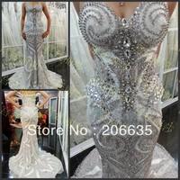 Glass Crystal Special Appliques Mermaid Luxury evening Dresses Rhinestones 25% off  NEWE-0535