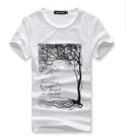 2014 HOT, New arrival brand men printed the tree t shirt,men's t-shirt men sunmmer t-shirt