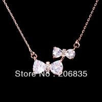 High Quality New Bowknot Pendant Cubic Zirconia Necklace Wedding Necklaces Princess Bow Necklace