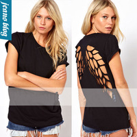 New 2014 fashion o-neck casual t shirt women clothing Black hole shorts crop tops NSFS 873 Tops & Tees