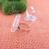 22X7mm Charm glass bottle +15mm pad white k adjustable ring base/50set/lot