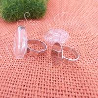 10pcs   handmake 7*27mm flat round glass bubble bottle +15mm adjustable ring base/Fashion gift