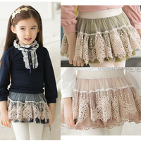 spring summer 2014 new fashion Children's Korean noble lace skirt beige green navy 5pcs/lot