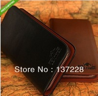 2014 New arrival  fashion Women's Men's Leather  zipper Wallets female Coin Purse male day Clutch handbags free shipping