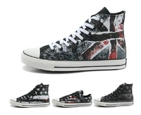 2014 High quality new American flag spray color restoring ancient ways graffiti printing canvas shoes