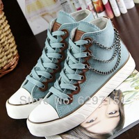 Free shipping 2014 new fashion style high women chain decoration canvas casual sneakers for women