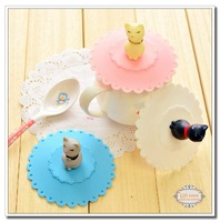 Free Shipping 3 piece Lovely Elegant Lazy Cat Shape Cup lid Silicone Leakproof Cup Cover