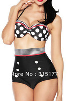 Free shipping Vintage Polka Dot High Waist Pin up Bikini Set 2014 Newest Sexy Swimwear Wholesale 10pcs/lot  40638