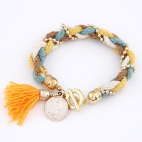 2014 New Occident fashion style Woolen Yarn Knit Tassels Pendent bracelets & bangles For Woman Easy Match Wholesale Items