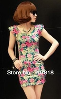 Free Shipping ! Fashion 2014 Newest Spring Summer Above Knee Dress Vintage Sleeveless Sheath Cute Print Flower  Mini Dress