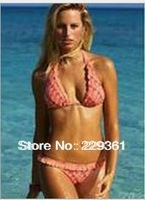 New 2014 Free shipping  Flower Printing Women Sexy Bikini with Lace Trimming Hot swimsuits Ladies swimwear beachwear