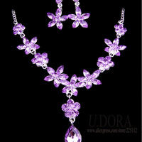 Lucky Flower Necklace Earrings Purple Jewelry Set