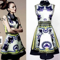 2014 New Arrival Stylish Women's National Trend Print Mini Dress European And American Style Fashion Slim One-Piece Dress