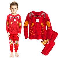 Stylish Baby boys pajamas suits cotton Red Iron man Boy T-shirt + Pants 2pieces payama sets child clothes free ship pijamas