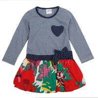 2014 new FREE SHIPPING kids girls wear bow hot summer baby girls cotton and long sleeve party evening flower dress