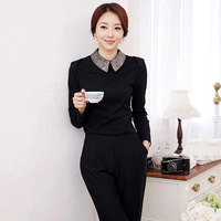 2014 New arrival elastic basic female shirt slim peter pan collar basic shirt female long-sleeve shirt 35/nrj/611-1/5585