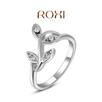 Fashion Accessories Jewelry 18K Gold Plated Austria Crystal Full CZ Diamond with SWA elements Branch Leaf Rings for Women
