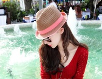 New Arrive Summer Vacation Straw Sun Hat Fashion Women Sun-block Caps Big Brim Hats Hot Beach Dicer Hat Cap Free Shipping