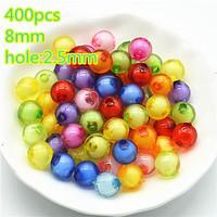 8mm round plastic round beads fashion jewelry accessories free shipping 500pcs/lot