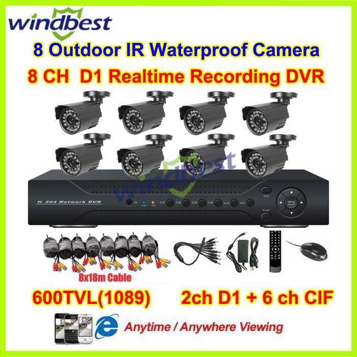 8ch d1 h. 264 cctv dvr-kit Tag nachtsicht wetterfeste Sicherheit 600 tvl kamera videoüberwachung System diy cctv-kamera-system