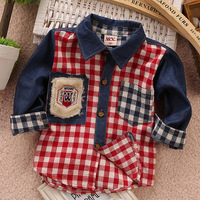 Free shipping !2014 spring new  Boys and girls Korean fashion casual plaid denim shirt  CQCXB002