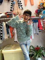 Girl Manual diamond lattice spherical hollow Sweater kids meters cutout sweater