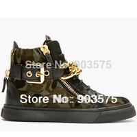 Free shipping Double Zip BLACK CALF-HAIR CHAIN DETAIL HIGH-TOP SNEAKERS fashion  women's men's sneakers shoes boots size 35-46