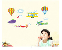removable wall paper children's room cartoon fighting airplane and hot air balloons for kids' room decoration