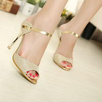 Drop shipping  2014 new fashion high heel sandals girls ladies shoes shoes for women white Gold J3071
