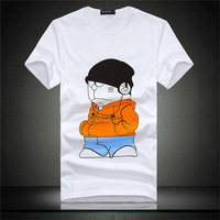 2014 New cotton summer Fashion Cute Cartoon Cat Short-sleeve O-neck Slim men's t shirt