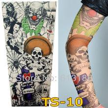 Free Shipping 2014 New Fashion Punk 2Pcs Men Women Tamporary Charm UV Skull Theme Fake Tattoo Sleeves(China (Mainland))