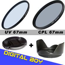 Camera & Photo!Digital boy 67mm Lens hood / Cap + UV CPL C-PL Filter Kit for Canon T4i T3i 7D 50D 60D 18-135mm 17-85mm Lens set